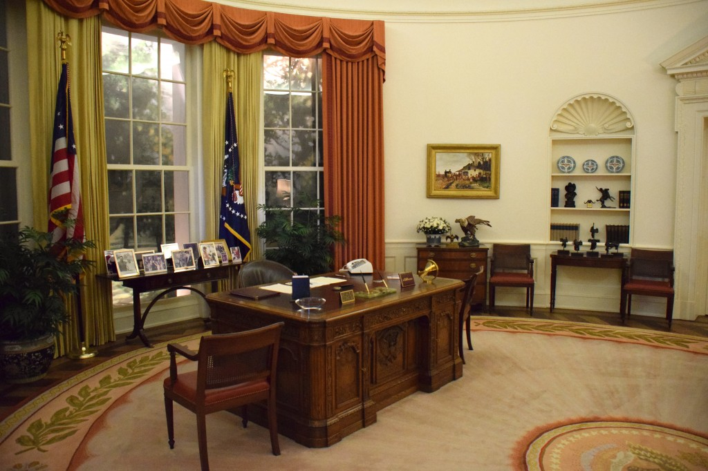 an exact replica of the oval office when reagan was in office. many pieces shown here are originals.